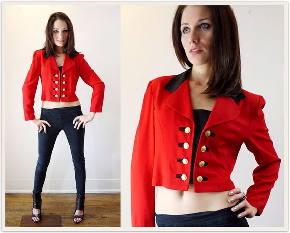 Vintage Military Jacket Red Black Gold Buttons Tuxedo Cropped Blazer 80s by Lois Snyder Dani Max - S / M