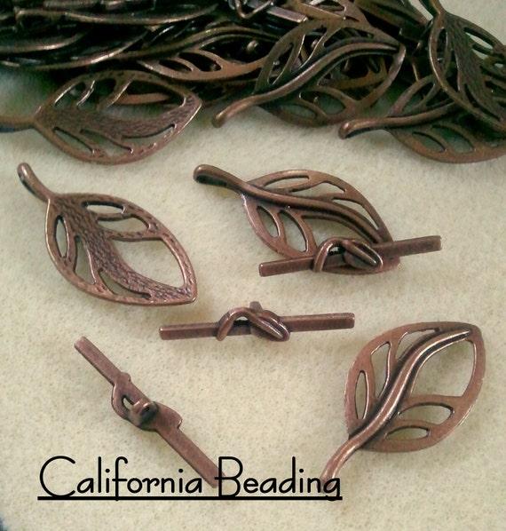 5 sets Copper Leaf Toggle Clasps  18 x 37mm
