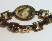 Beaded Cabochon Bracelet with Woven Links and Square Hematite