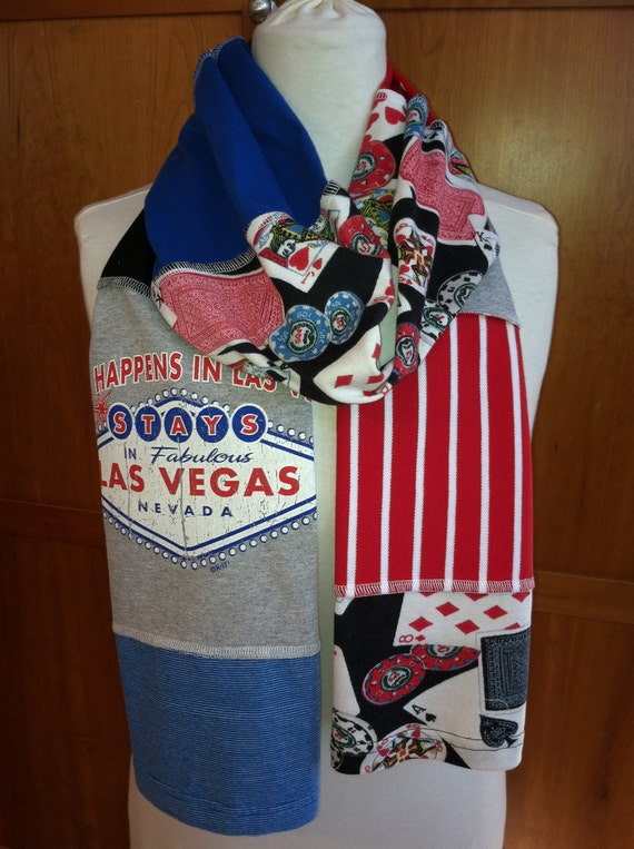 UPCYCLED t-shirt scarf... Las Vegas... Poker... red, blue, black, grey