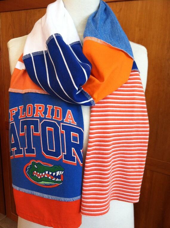 UPCYCLED t-shirt scarf... University of Florida... Gators... orange & blue