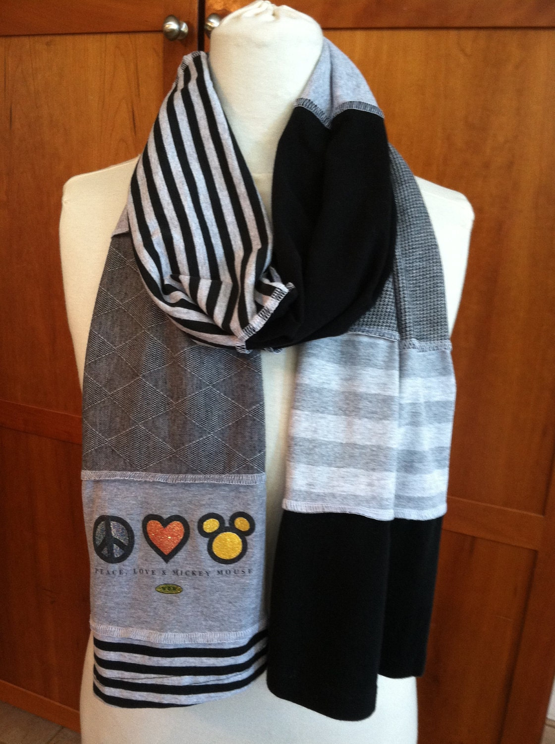 Upcycled T Shirt Scarf Mickey Mouse Icon Peace