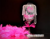 Personalized hand painted wine glasses Hell In Heels Hot Pink