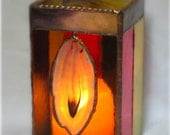 Agate Stained Glass Candle Holder Red Blue Amber Yellow
