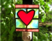 Stained Glass Night Light Heart Red Pink Turquoise