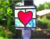 Stained Glass Night Light Heart Red Purple Turquoise