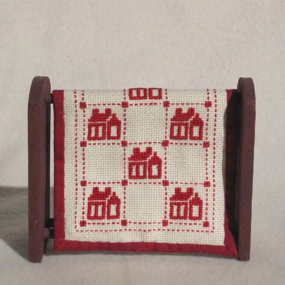 Red Hand Embroidered Dollhouse Quilt and Quilt Stand in 1/12th Scale