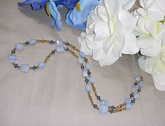 High Grade BLUE LACE Agate Necklace only 45 Dollars and FREE Shipping