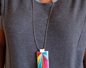 Colorblock bright multicolored embroidered pendant necklace yellow green blue purple neon orange