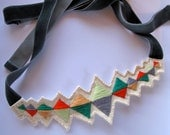 Embroidered diamond triangles necklace multicolored with ribbon ties modern jewelry
