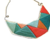 Geometric bib necklace in bright greens coral and hot pink embroidered triangles dramatic design
