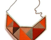 Sumer fashion bib necklace embroidered geometric triangles in beautiful neutral colors and dramatic design