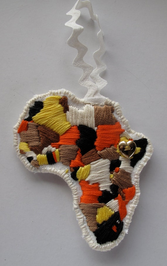 Embroidered ornament celebrating love for Ethiopia Africa
