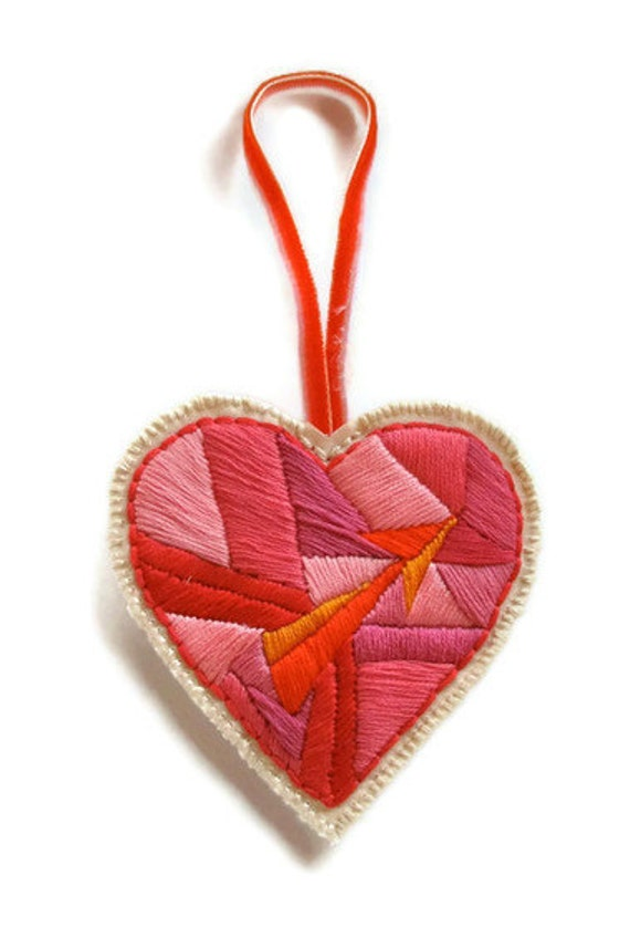 RESERVED Geometric embroidered ornament with heart and arrow with surprise love letter or personalized