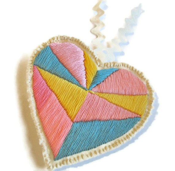 RESERVED Geometric pastel ornament embroidered heart with personalized message or surprise love letter