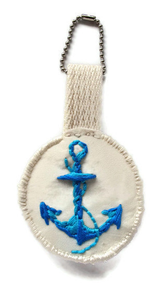Embroidered blue anchor ornament or tag