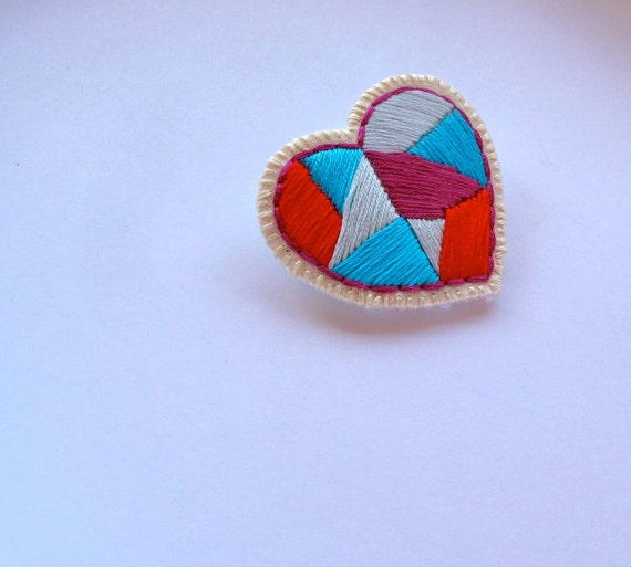 Geometric heart brooch embroidered traingles red blue violet and ice blue colorblock