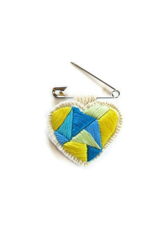 Mini heart badge of love embroidered geometric blues and yellow colorblock