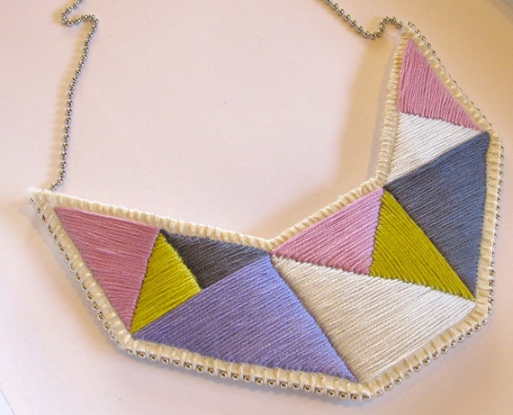 Bib necklace embroidered geometric triangles in beautiful light colors and dramatic design Spring fashion
