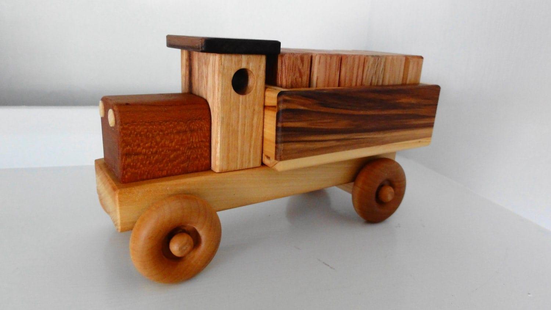 Handmade Wooden Toy Cargo Truck w/Plain Blocks by Kazwoodcraft