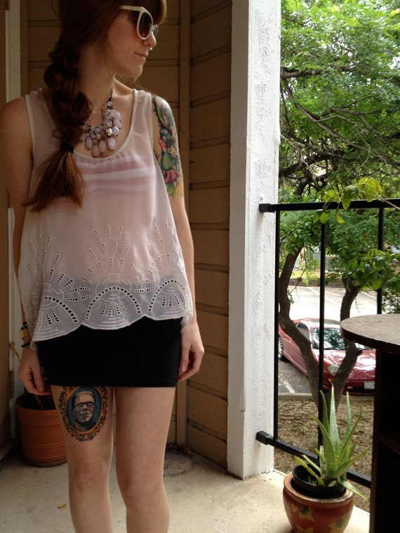 FREE SHIPPING Small Over-Sized Short Sleeve White Sheer Tank Top