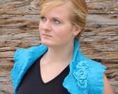 Felted turquoise ruffle wool bolero, shrug, vest, wrap with roses free size