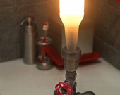 Bedside Lamp. Beer bottle, Plumbing pipe & fittings. Night light. Accent light.