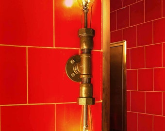 Vanity Lamp. Beer bottles, Plumbing pipe & fittings. Vanity light. Wall lamp. Bathroom Vanity Lighting Fixture