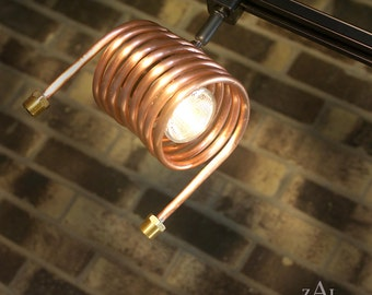 Track light, Distillery, Track head, Copper coil condenser.
