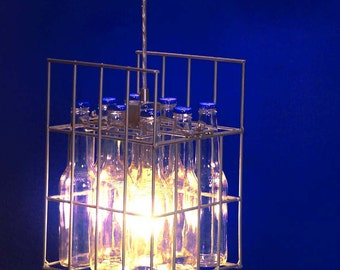 Pendant Light, Beer bottles and Wire case. Crate.