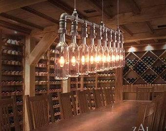 Pendant Light. Wine, Beer Bottles, Suspension Lamp.