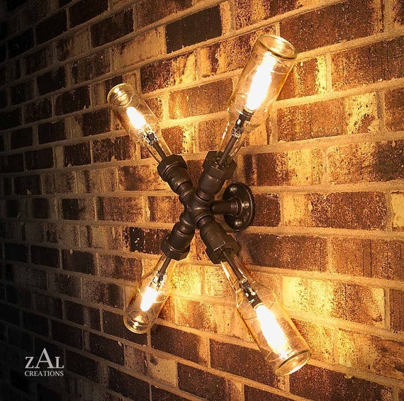 Wall Light. Lamp. Beer bottles,  Plumbing pipe & fittings. Wall light.  Lighting Fixture. Ceiling lamp