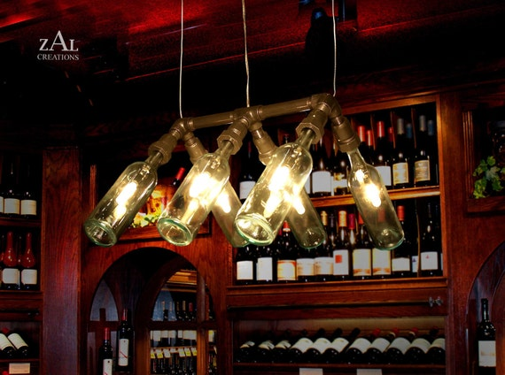Pendant Light. Suspension Lamp. Wine Bottles.