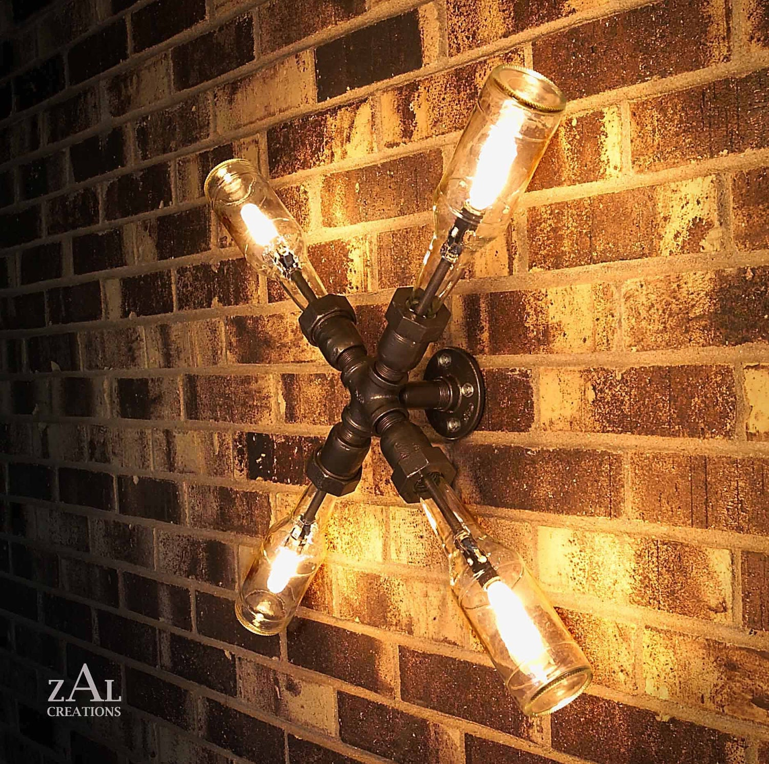 Wall Light Lamp Beer Bottles Plumbing Pipe Fittings