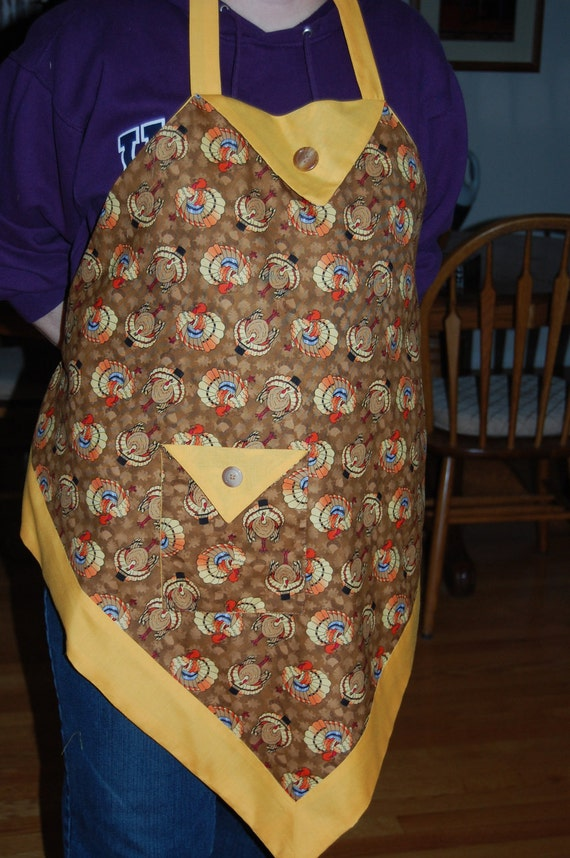 Thanksgiving Apron adorned with turkeys