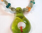 Mushroom Necklace Bracelet Set Hemp Beaded Glass Swirl Twisted Jewelry Pendant Hippie Lime Green Orange White Shrooms