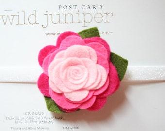 Pink Felt Flower Baby Headband