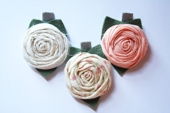 Flower Hair Clip - Hair Clips - Fabric Flower Hair Clips - Fabric Hair Flowers - Girl Hair Clips - Vintage Inspired Peaches and Cream Set