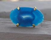 Blue geode inspired adjustable fashion ring