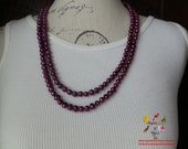 Purplish freshwater pearl long necklace 50""