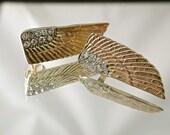 Vintage Deco Detailed Diamond Wing Earrings