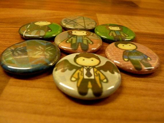 Set of 3 Supernatural Inspired Pinback Button Badges