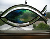 Stained Glass Suncatcher - Christian Fish (Icthys) - Blue and Green - Handcrafted - Made in USA