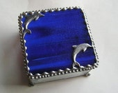 Stained Glass Jewelry Box - Dolphins - Cobalt Blue - Home & Living - Decor and Housewares - Boxes - Handcrafted - Made In USA
