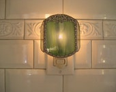Stained Glass Nightlight - Moss Green with Bow - Handcrafted - Made in USA