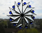 Stained Glass Art Stained Glass Suncatcher PinwheelBeveled Glass Blue Gems Art & Collectibles Glass Art Suncatchers Handcrafted Made in USA
