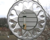 Stained Glass Mirror with Vintage Heart Plate - Home and Living - Decor and Housewares - Mirrors - Handcrafted - Made in USA