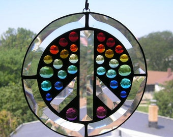 Stained Glass|Stained Glass Peace Sign|Rainbow Gems|Rainbow Peace Sign|Home and Living|Home Decor|Window Suncatcher|Handcrafted|Made in USA