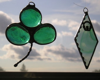 Stained Glass Suncatchers|Shamrock|Claddagh|Two Irish Suncatchers|Celtic Suncatchers|Art & Collectibles|Glass Art|Handcrafted|Made in USA