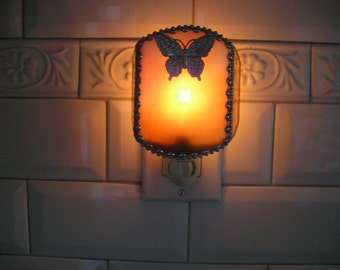 Stained Glass Nightlight|Butterfly|Butterfly Nightlight|Gold|Home & Living|Lighting|Night Lights|Glass Art|Handcrafted|Made in USA